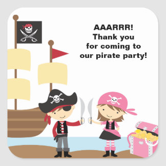 Pirate Boy and Pink Pirate Stickers