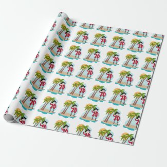 Pirate boy and treasure island wrapping paper
