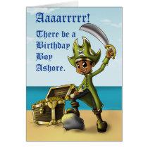 """Pirate Boy Birthday Cards"" Card"