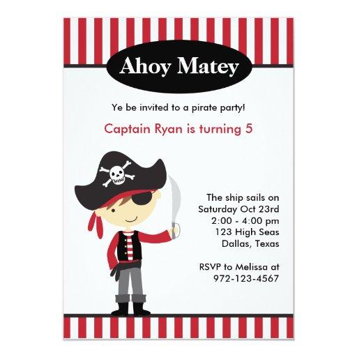 "Pirate Boy BIrthday Invitations 5"" X 7"" Invitation Card"