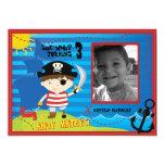 "Pirate Boy Birthday Party Invitation, Ahoy Mateys! 5"" X 7"" Invitation Card"