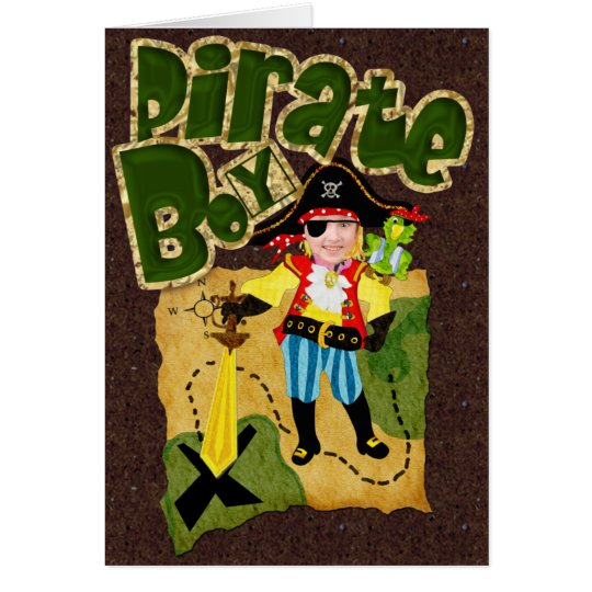 Pirate boy custom photo card