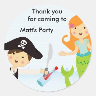 Pirate boy mermaid girl birthday party sticker