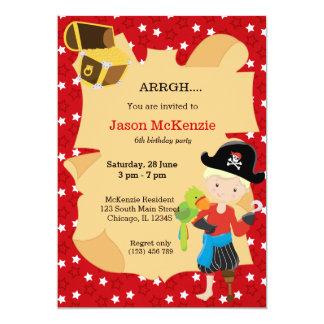Pirate boy party 5x7 paper invitation card