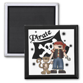 Pirate Boy With Monkey Tshirts and Gifts 2 Inch Square Magnet