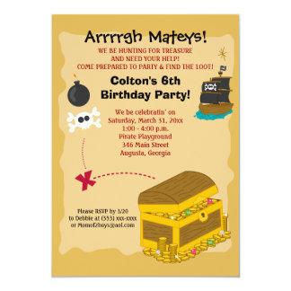 "Pirate Boy's Birthday Invitation 5x7 5"" X 7"" Invitation Card"