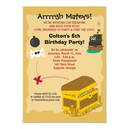 Pirate Boy's Birthday Invitation 5x7