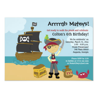 Pirate Boy's Birthday Invitation 5x7