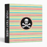 Pirate, Bright Rainbow Stripes Binder