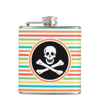 Pirate Bright Rainbow Stripes Flask