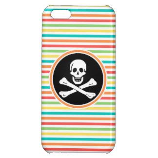 Pirate, Bright Rainbow Stripes iPhone 5C Cases