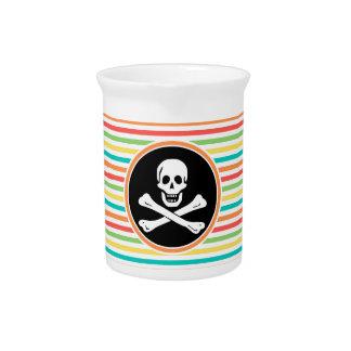 Pirate, Bright Rainbow Stripes Drink Pitcher