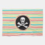 Pirate, Bright Rainbow Stripes Towel