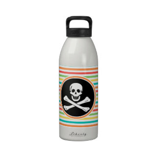 Pirate Bright Rainbow Stripes Drinking Bottle