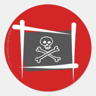 Pirate Brush Flag Classic Round Sticker