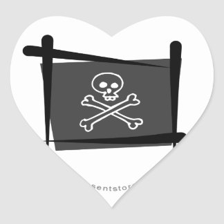 Pirate Brush Flag Heart Sticker