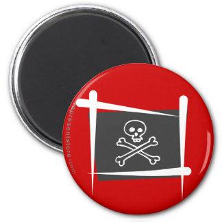 Pirate Brush Flag 2 Inch Round Magnet