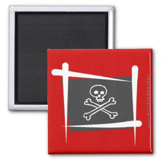 Pirate Brush Flag 2 Inch Square Magnet