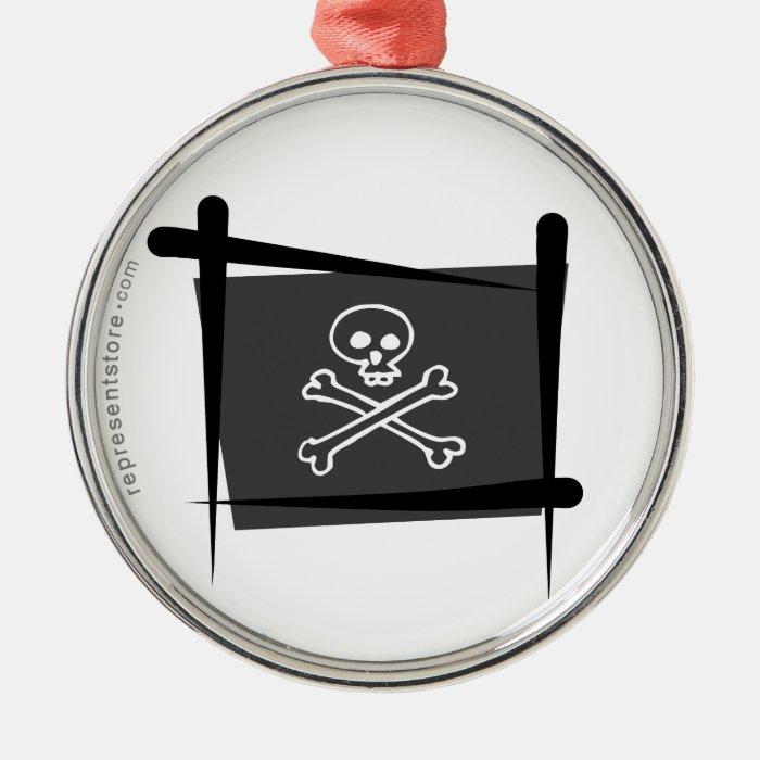 Pirate Brush Flag Metal Ornament