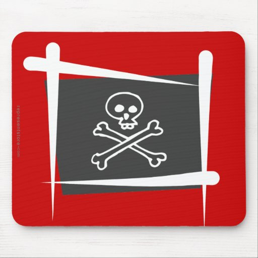 Pirate Brush Flag Mouse Pad