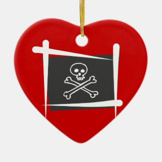 Pirate Brush Flag Double-Sided Heart Ceramic Christmas Ornament