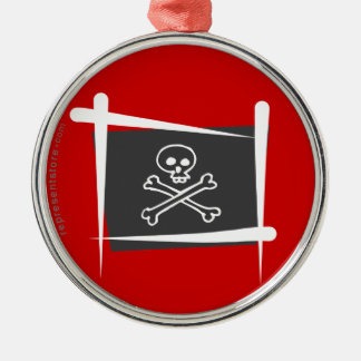 Pirate Brush Flag Round Metal Christmas Ornament