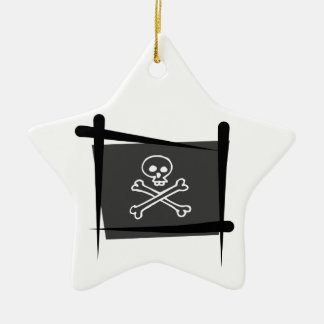 Pirate Brush Flag Double-Sided Star Ceramic Christmas Ornament