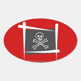 Pirate Brush Flag Oval Sticker