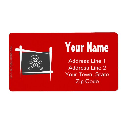 Pirate Brush Flag Personalized Shipping Label
