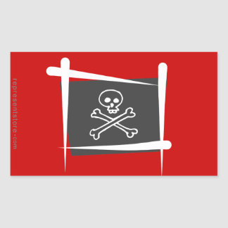 Pirate Brush Flag Rectangular Sticker