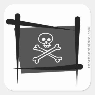 Pirate Brush Flag Square Sticker