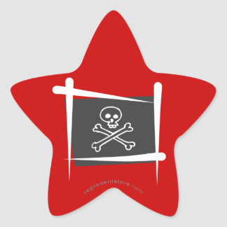 Pirate Brush Flag Star Sticker