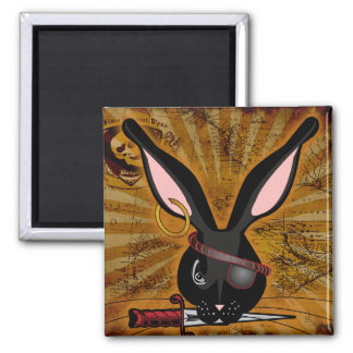 Pirate Bunneh 2 Inch Square Magnet