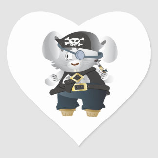 Pirate Bunny Heart Sticker