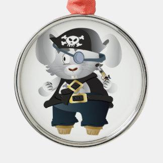 Pirate Bunny Metal Ornament