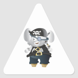 Pirate Bunny Triangle Sticker