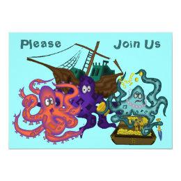 Pirate Buried Treasure Underwater Life Invitation