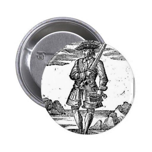 Pirate Calico Jack Rackham Pinback Buttons
