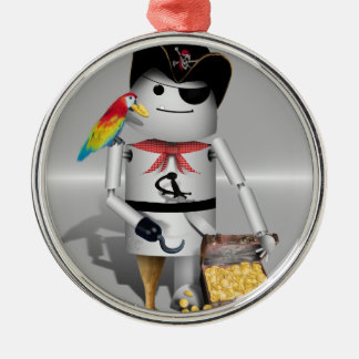 Pirate Capt Robo-x9 (on Metal Background) Christmas Ornaments
