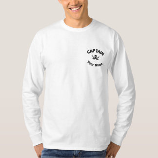Pirate captain and skull embroidered long sleeve T-Shirt