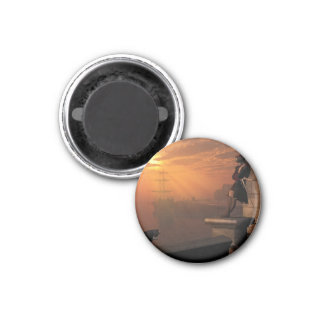 Pirate Captain at Sunset 1 Inch Round Magnet