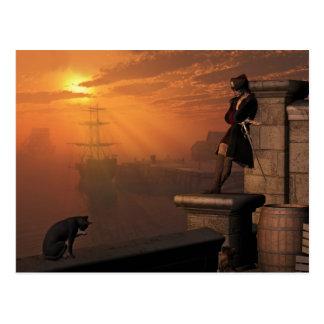Pirate Captain at Sunset Postcard