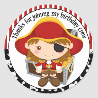 Pirate Captain Birthday Thank You Classic Round Sticker