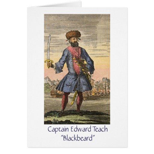 Pirate Captain Blackbeard Greeting Card