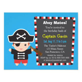 Pirate Captain Boy Birthday Party Card