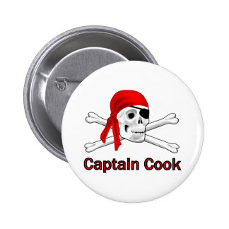 Pirate Captain Cook Pin Back Button