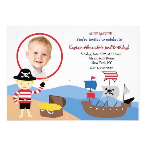 Pirate Captain Photo Birthday Party Invitations