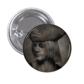 Pirate Captain Portrait - Antique Effect Button