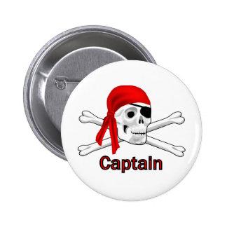 Pirate Captain Skull and Bones Button