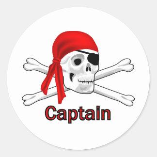 Pirate Captain Skull and Bones Sticker